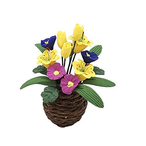 HLIYY 1/12 de PoupéE Artificielle Fleur Miniature DéCor Exquis Ornement Plante Verte Maison De Poupée Miniature Faux Vert Plante Fleur en Pot Jardin De Fées