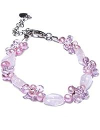 Oi! - B2771 - Bracelet Femme - Rhodium plaqué - Perle / Quartz Rose - Perle d' Eau douce