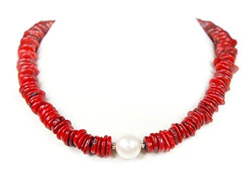 Halskette aus roter Koralle in Knopfform mit einer Muschelkernperle L-47 cm