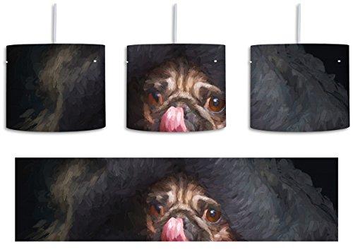 Unter Der Zunge (Süßer Mops unter der Decke Kunst Pinsel Effekt inkl. Lampenfassung E27, Lampe mit Motivdruck, tolle Deckenlampe, Hängelampe, Pendelleuchte - Durchmesser 30cm - Dekoration mit Licht ideal für Wohnzimmer, Kinderzimmer, Schlafzimmer)
