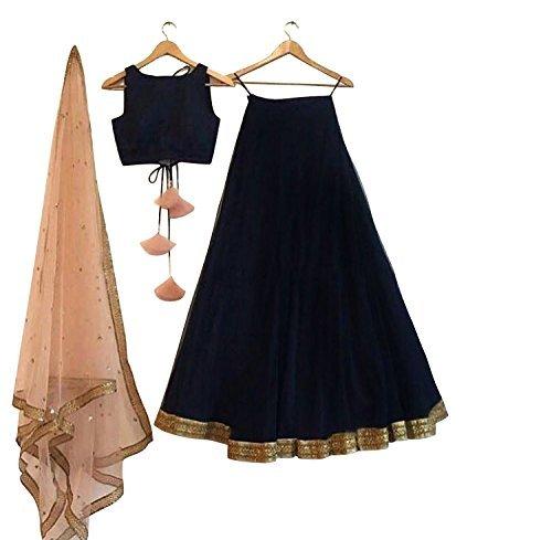 Surat4fashion Women's Black Silk Free Size Lehenga Cholis(Black_FreeSize)