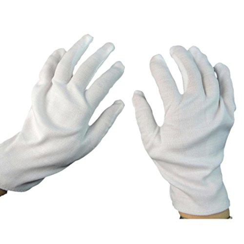 1 Paar Weiß Halloween Kostüm Handschuhe Hirolan (Weiß, (Erwachsenen Kostüme Zauberer Magic)