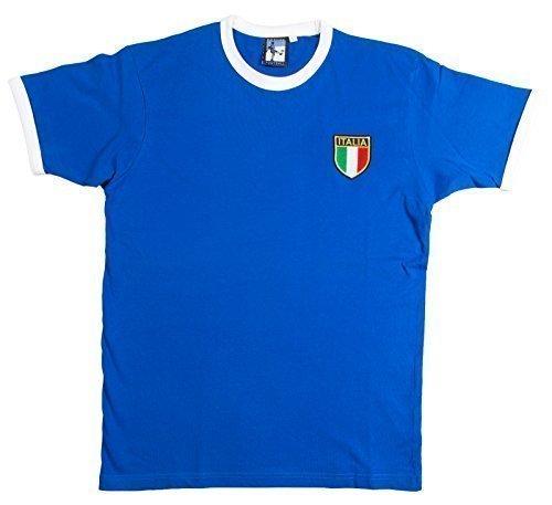 Retro Italien-Italia Fußball T-Shirt Neu Größen S-XXL Gesticktes Logo - L