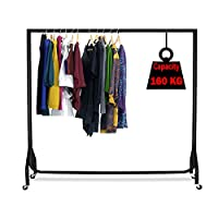 CompleteShopfittings Super Heavy Duty Black Garment/Clothes Rail 6ft Wide x 5ft Height Garment Rack Steel(Free Next Working Day Delivery)