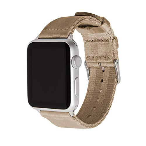 Archer Watch Straps | Sicherheitsgurt Stil gewebtes Nylon Armband für Apple Watch | Uhrenarmband für Herren und Damen | Khaki/Edelstahl, 42mm -