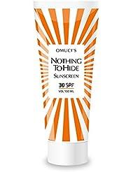 """Der umweltfreundliche Sonnenschutz """"Nothing to Hide"""" von Omuci, Veganer-freundlich, mit natürlichen Inhaltsstoffen. UVA- + UVB-Schutz. (30 SPF, 100ml)"""