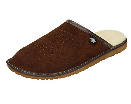 Suede Mens Mule Slippers / Natural Wool Lining size 7,8,9,10,10.5 - Ecoslippers (9 UK / 43 EU, Dark Brown)