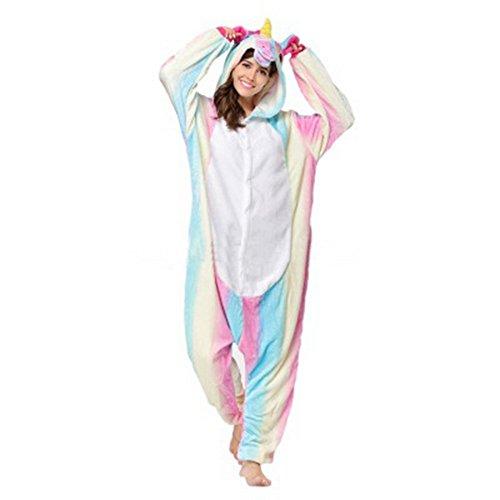 3923ed2b1f Wenyujh Damen Mädchen Tier Schlafanzug Cartoon Einhorn Cosplay Flanell  Pyjamas Fasching Halloween Kostüm Jumpsuit (Kostüme