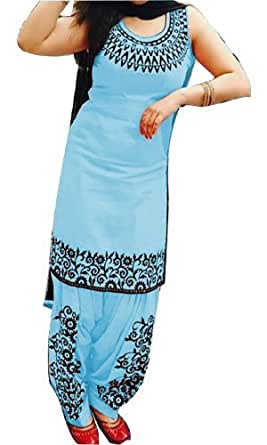 Cotton Embroidered Sky Unstitched Patiala Suit