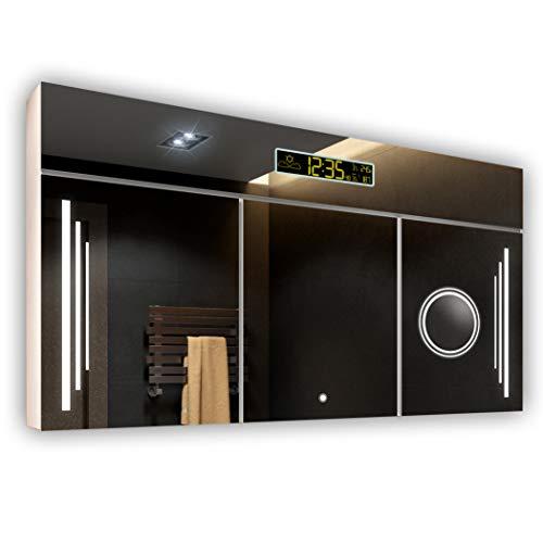 FORAM Spiegelschrank mit LED Beleuchtung 100 x 72 x 17 cm, Badschrank A++ | Schalter, WETTERSTATION, Bluetooth Lautsprecher, LED Uhr | Alpines Weiß