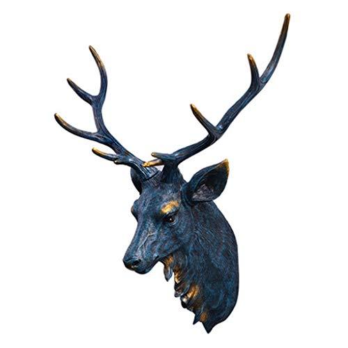 Stickers muraux Décoration Murale Tête De Cerf Bleu Américain Pendentif Décoration Murale Mur Ornement Créatif Cadeau Tête Animal (Color : Blue, Size : 58 * 43cm)