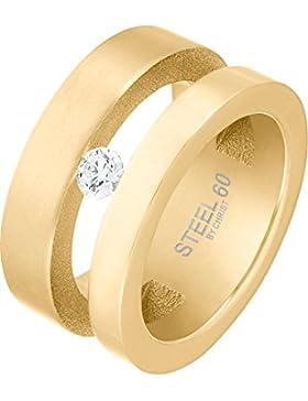 STEEL BY CHRIST Damen-Ring Edelstahl 1 Zirkonia 56, gold