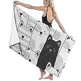 "xcvgcxcvasda Serviette de bain, Gray Black Kitten Cat Personalized Custom Women Men Quick Dry Lightweight Beach & Bath Blanket Great for Beach Trips, Pool, Swimming and Camping 31""x51"""