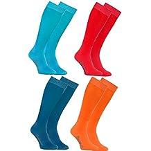 Rainbow Socks Calcetines LARGOS by ALGODÓN Peinado, PAQUETE Calcetines Hasta Rodilla Modernos para Todos los