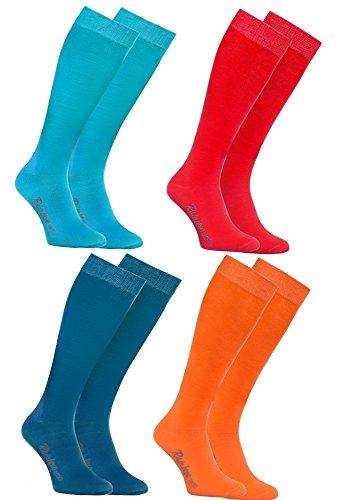 Rainbow Socks 4 Paar Bunte KNIESTRÜMPFE Gekämmte BAUMWOLLE, Modern Lange Socken MULTIPACK für Jeden Tag, Bequem und Fein|BLAU ROSA TÜRKIS ORANGE, EU Größen 44-46, Made in EUROPA