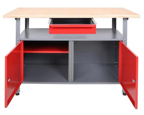 Ondis24 Werkbank abschließbar Werktisch Montagewerkbank Werkstatttisch rot mit Türen - 2