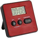 Digital LCD Küchentimer Farbe rot . Küchen Timer Laufzeit 99 Minuten mit Alarm Ton und Magnet Halterung