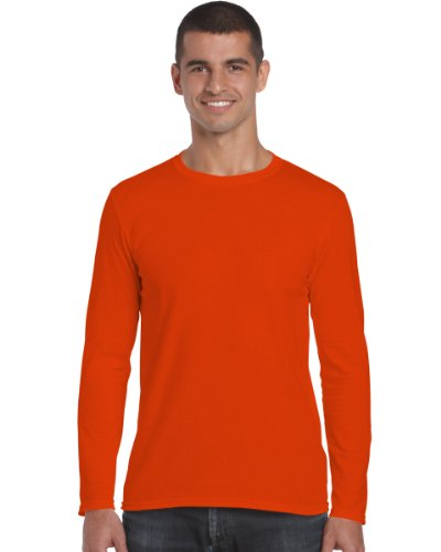 Gildan 64400 Mens Long Sleeve Softstyle T-Shirt Tee Orange - Orange