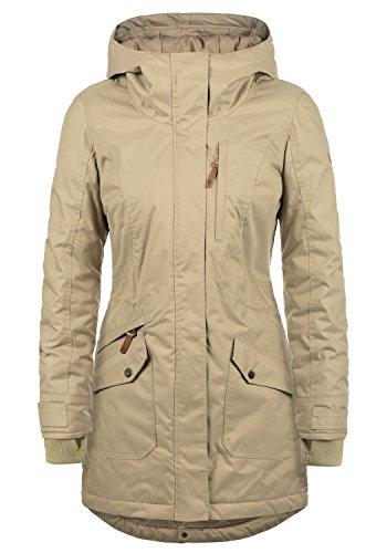DESIRES Bella Damen Übergangsparka Parka Übergangsjacke Lange Jacke mit Kapuze, Größe:XL, Farbe:Dune (5409) (Echte Pelz-mäntel Für Frauen)