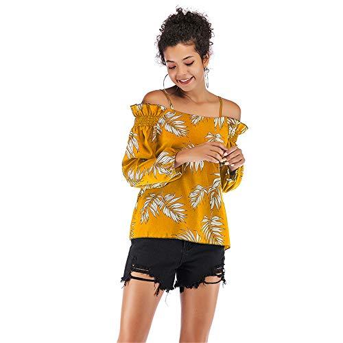 Frauen Tops Sling Kragen Shirts Joker Kurzarm Rollkragen Tops Leaf Print Komfortable weiche dünne Haut Abdeckung Sling Chiffon Shirt,Yellow,XL -