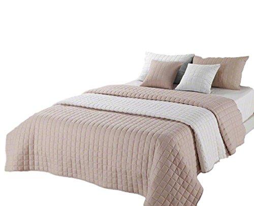 Tagesdecke 220x240 couch elegant luxus Wohndecke Tagesdecke queensize Bettüberwurf (Amanda Beige-Ecru 220x240)