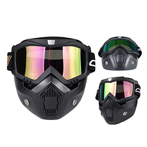 QXTKHW Motorrad Schutzbrillen Brille Abnehmbare Gesichtsmaske Helm Nebelfest Winddicht Fahrradbrille zum Offroad Reiten Passen Männer Frau