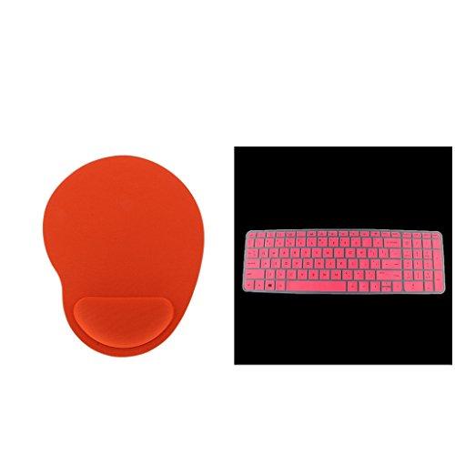 Sharplace Wasserfest Tastaturschtz Silikonhaut Staubschutz Folie Keyboard Protektor für HP 15'' Laptops und Ergonomische Mausunterlage Handgelenkstütze Mausmatte -