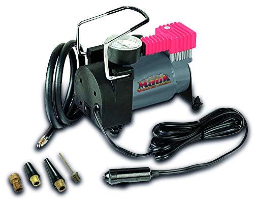 Mauk 1997 Auto Kompressor 12V 10 bar mit Druckmanometer, Anschluss über Zigarettenanzünder, inkl. 4 Adapter, 12 V, Grau