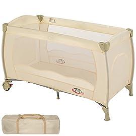 TecTake Lettino da viaggio per bambini con borsa per il trasporto - disponibile in diversi colori - (Beige | no. 402418)