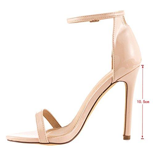 EKS Damen Ankle Strap Cuff High Heels Stilettos Party Sandalen Schuhe EU 35-46 Natural