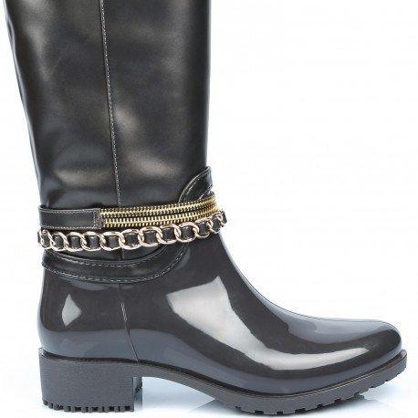 Ideal Shoes - Bottes de pluie bi-matière avec ceinturons Laurinda Gris