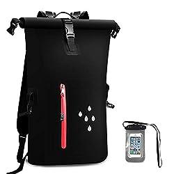 Wasserdichter Dry Bags Rucksack, 25L Heavy Duty Roll-Top-Verschluss Reiserucksack mit IPX8 Waterproof Handy-Hülle für Bootfahren, Strand, Kajak, Skifahren, Angeln, Camping, Schwimmen (Schwarz)