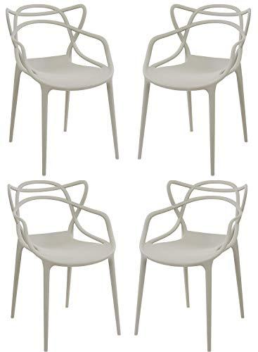 Totò Piccinni Sedie Starck style Moderne Design impilabile (L)54x(P)55x(A)82 cm (Grigio Chiaro, 4)