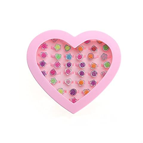 LUOEM Plastic Flower Rings Adjustable Colorful Rings with Heart Shape