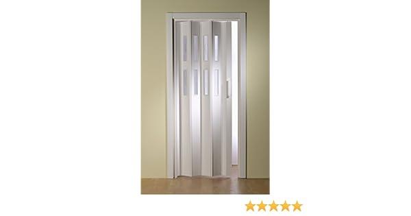 Kunststoff Faltt/ür Esche wei/ß ohne Fenster 88,5x202 cm doppelwandig