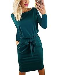 bf94e1198436 Yieune Sommerkleid Damen Lose Abendkleid Einfarbig Knie Lang Kleider Elegant  Strandkleid Minikleid