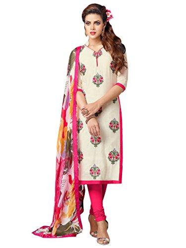 Applecreation Women's Chanderi Cotton Salwar Kameez (White & Pink_7DMK016)
