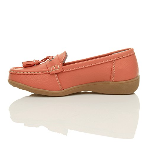 Damen Kleinen Keilabsatz Leder Quaste Komfort Halbschuhe Boot Mokassins Größe Korallenfarbig