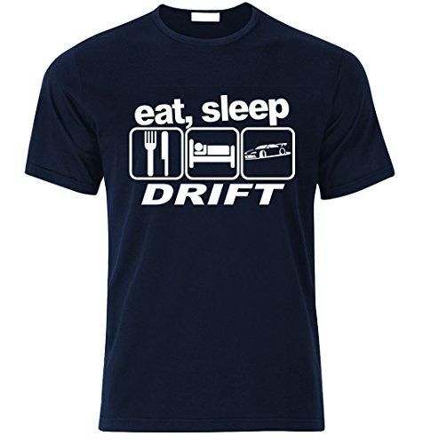 Eat sleep DRIFT T-shirt Best Fan Racing Speed Turbo size S-XXL Weihnachtsgeschenke Xmas Navy Blau