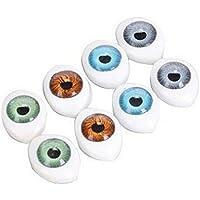 8Pairs (16pcs) Oval muñeca yeux-creux acrílico muñeca oso artesanía ojos bola para bricolaje costura Artesanía marioneta oso muñeca animales peluches, Assorted Color, 23mm x 16mm/0.9'' x 0.6''