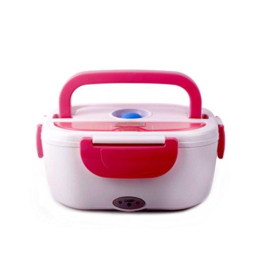 FAPPY Thermo Lunch Box Isolierbehälter mit Griff Foodbehälter Warmhaltebox für Nahrung, Abnehmbarer Wäsche EU-Stecker Edelstahl-Liner Thermosspeisebehälter (rosa) (Hot Box Lunch Thermos)
