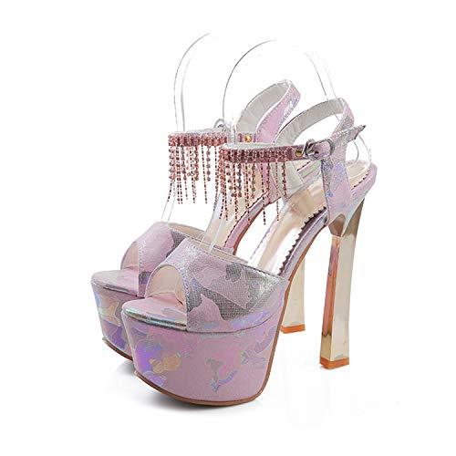 NEWMEN RIGHT Brand Elegant Sandals Women High Heels Super High Heel Blue Pink Women's Sandals Platform Open Toe Sandals Pink 5