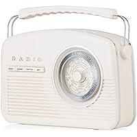 Akai A60010CDABBT Portable Retro DAB Radio Alarm Clock with Backlight/LCD Display and Bluetooth - Cream - ukpricecomparsion.eu