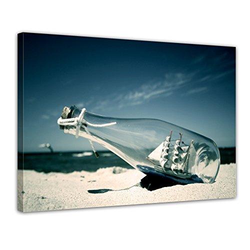 Kunstdruck - Buddelschiff - Schiff in der Flasche - Bild auf Leinwand - 50x40 cm einteilig -...