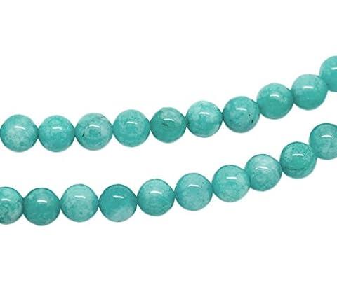 HOUSWEETY 1Strang Blau Amazonit Perlen Kugelnperlen 8mm 37cm