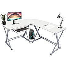 Kendan Alicorn Blanco - Escritorio grande de esquina con forma de L, para casa u oficina, con bandeja deslizante para teclado y soporte para torre de ordenador de la horquilla de estación de trabajo