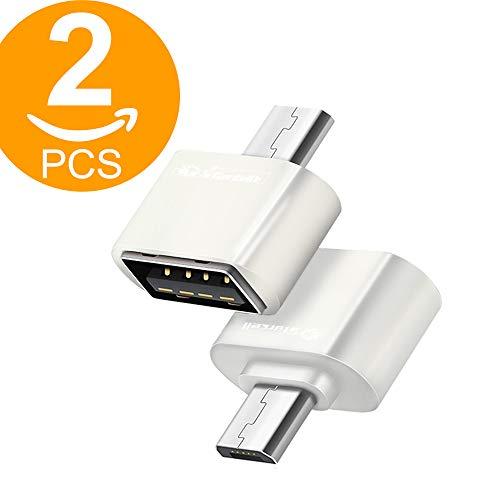Act Adattatore OTG ad alta velocità Micro USB (maschio) a USB 2.0 (femmina) per Android Smartphone Tablet con funzione OTG Confezione da 2 (2 x Bianco)