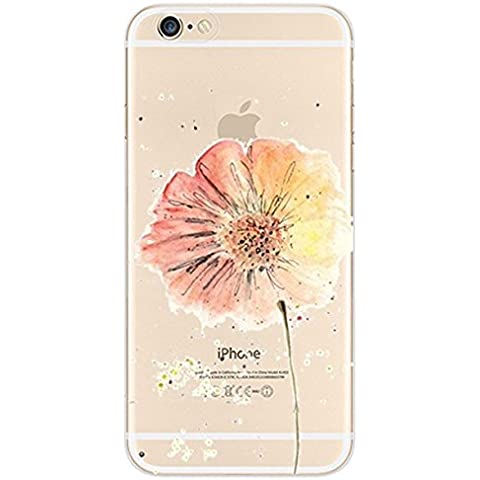 iPhone 6s Case, iPhone 6 Case, Ranrou case,Ranrou Soft TPU Silicone Clear Cases for iPhone 6 6s -flower