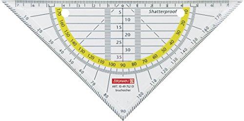 Brunnen 104975201 Geometrie-Dreieck / Geodreieck (für Schule und Büro, 16 cm Office to go, abheftbar, bruchsicher, glasklar)