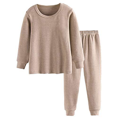 BINIDUCKLING Jungen Mädchen Zweiteiliger Schlafanzug Langarm Pyjama Bio-Baumwolle Kaffee 5T